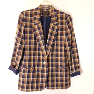 Requirements Linen Rayon plaid check long blazer